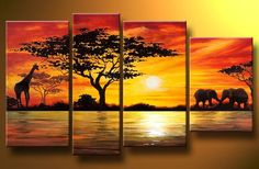 African Elephant & Giraffe in the Sunset Paintings