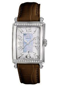 Gevril Women's 7247NT.5 Blue Mother-of-Pearl Genuine Alligator Strap Watch
