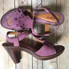 Born orchid suede fringe sandal heel ✨Host Pick✨ Born orchid suede fringe sandal heels. Adorable heels with the comfort of Born. Size is 9 (Euro 40.5). Leather upper & lining. Worn at the most 2-3x. Minimal scuff on back of heels, as pictured. Before the days of Posh, so no box. Not interested in trades. Born Shoes Sandals