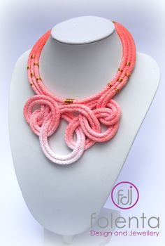 Coral rope knot necklace