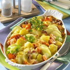 Kartoffel-Kohlrabi-Auflauf mit gekochtem Schinken Rezept | LECKER