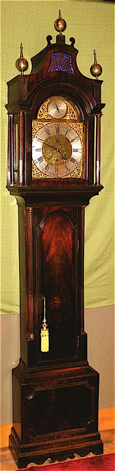 English 18C Mahogany Grandfather Clock with walnut and brass