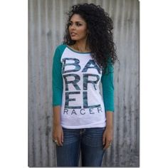 Green Camo Barrel Racer Baseball Raglan Shirt Top - Juniors Sizing