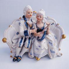 Vintage Blue White Porcelain Victorian Figurine My