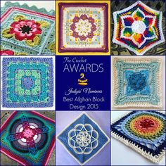 Here are our Judges' Nominees for Best Afghan Block Design 2015 in The Crochet Awards! ~ Painted Roses Blanket by Sandra Paul at Cherry Heart ~ Floral Kaleidoscope Afghan Square by Julie King at Gleeful Things ~ Fabulous Flower Hexagon by Cynthia L. Green ~ Block Stitch Square by Ana Benson at Craft Chic ~ Dogwood by Shelley Husband at Spincushions ~ Denna by Polly Plum at Every Trick on the Hook ~ Spiro Star by Helen Shrimpton  ~ Orbit by Shelley Husband at Spincushions