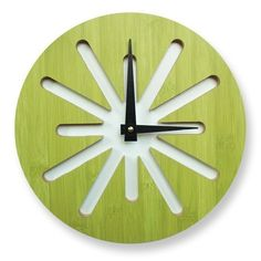 Splat Green Bamboo Modern Wall Clock by pilotdesign on Etsy Unusual Clocks, Cool Clocks, Modern Clock, Modern Wall, Wall Watch, Cad Cam, Bamboo Wall, Diy Clock, Clock Decor