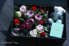 Valentine's Day Flower Box by Tempting Tulips - Purple and Red Styling How To Wrap Flowers, How To Preserve Flowers, Love Flowers, Dried Flowers, Beautiful Flowers, Flower Images, Flower Art, Bouquet Box, Chocolate Flowers