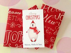 Personalized Christmas Gift Enclosure Card Custom by PikakePress, 10 for $12