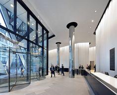 The Gherkin London, Fosters + Partners Hufton + Crow Office Entrance, Office Lobby, Norman Foster, Gherkin London, Glass Curtain Wall, Lobby Reception, Futuristic Interior, Lobby Interior, Entry Foyer