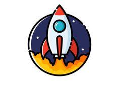 Rocket: design on round base? Icon Design, Game Design, Logo Design, Graphic Design, Space Illustration, Simple Illustration, Rockets Logo, Graffiti, Rocket Design