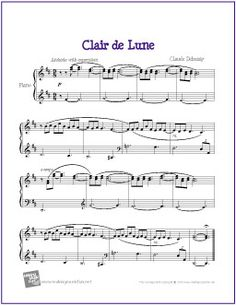 Clair de Lune (Debussy) | Free Sheet Music for Easy Piano - http://makingmusicfun.net/htm/f_printit_free_printable_sheet_music/clair-de-lune-piano.htm