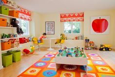 Funny Kids Playroom Designs : Geometric And Floral Mat In Brightly Colored Childs Playroom