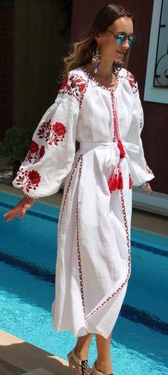 White Vita Kin style linen vyshyvanka linen MIDI dress red black Embroidery. Sizes - XS-XXL MD004