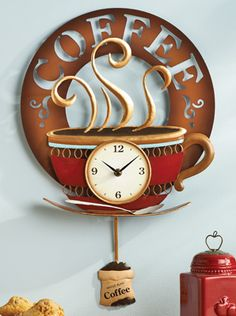 Hot Coffee Cup Decorative Kitchen Wall Clock. But where would I hang it in my rooster kitchen?