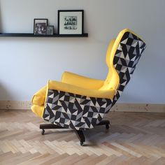 Custom vintage G Plan 6250 Swivel Chair restored by Florrie+Bill in yellow leather and Kirkby Design's ATOM Puzzle in Corn