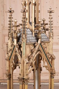 Antique French Gothic Carved Wood Shrine | From a unique collection of antique and modern religious items at http://www.1stdibs.com/furniture/more-furniture-collectibles/religious-items/