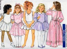 Butterick 5921, Girls Sizes 5, 6 and 6X, Fancy Dropped V Waist Dress and Slip Pattern, Flutter Long or Short Sleeves, Ruffled Skirt, Uncut by OnceUponAnHeirloom on Etsy