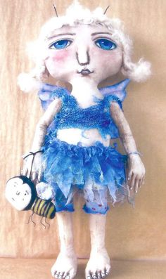 """Pattern /""""Fairy and Snail/"""" By Susan Barmore Paper *NEW* Cloth Folk Art Doll"""