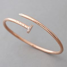 Rose Gold Nail Bracelet Sterling Silver from Kellinsilver.com – nail jewelry, nail bangle, nail cuff