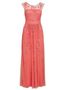 Gina Bacconi Long beaded mesh dress, Coral