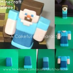 Shouldn't be too hard to make. Steve Minecraft, Minecraft Torte, Minecraft Birthday Cake, Minecraft Skins, Cake Topper Tutorial, Fondant Tutorial, Fondant Toppers, Fondant Cakes, Cupcakes