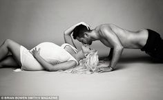 Tender moment: The star's fiancé, Matthew Rutler, also participated in the intimate shoot...