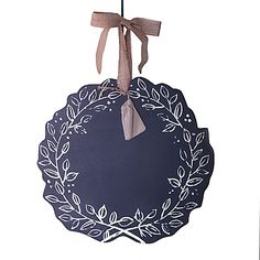 """Beekman 1802 Heirloom Holiday Reversible Chalkboard Wreath in Silver--write your own greeting in chalk or flip it over for a """"the most wonderful time of the year"""""""
