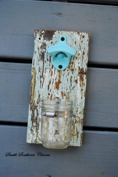 TEAL Rustic/Cast Iron Bottle Opener/Bottle/ Mason Jar/ Rustic/ Southern/ Shabby Chic/ Father's Day/ Man-cave/ Pool/ Patio by smithsoutherncharm, $25.00