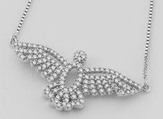 Gargantilha com Pingente Divino Espírito Santo, em Ouro Branco, com 50 Ptos de Diamantes | Guest Club