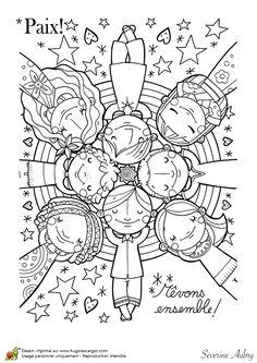 Coloring on the theme of peace, dream of peace - Hugolescargot.com