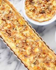 Heerlijke quiche met een kruimelige bodem, pittige blauwe kaas en zoete peren.