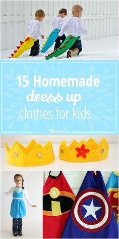 Sewing For Kids Clothes 15 Homemade Dress Up Clothes for Kids. - Homemade dress up clothes for pretend play! Girls Dress Up, Dress Up Outfits, Kids Outfits, Dresses For Kids, Tutu Dresses, Long Dresses, Sewing Projects For Kids, Sewing For Kids, Diy For Kids