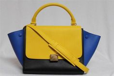 New-Celine-Runway-Sunflower-Tricolor-Small-Trapeze-Luggage-Leather-Bag