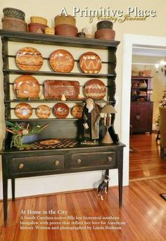 Redware Collection on Display & Primitive Plate Rack with 3 Drawers and Beadboard Back - Color ...