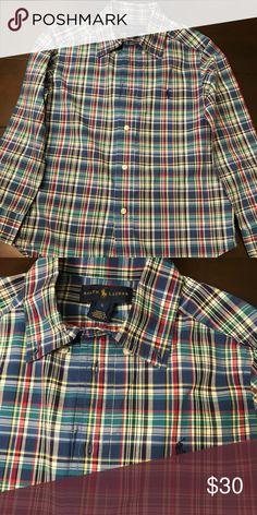 8608708d30b9 🎁Kids Ralph Lauren Button Down shirt🎄 Plaid Stretch Cotton Shirt. Size Very  Nice🔥 Makes a great Christmas gift🎁🎄 Ralph Lauren Shirts   Tops Button  Down ...