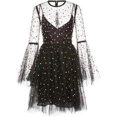 Elie Saab Tulle Mini Dress ($6,400) ❤ liked on Polyvore featuring dresses, elie saab, short sleeve cocktail dress, short fit and flare dress, short dresses, beaded cocktail dress and see through dress