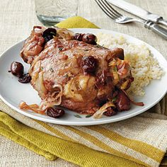 Turkey Thighs with Olives and Dried Cherries | CookingLight.com #myplate #protein #fruit #vegetables
