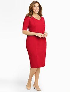 caf97ea635 Talbots - Ponte V-Neck Dress | Dresses | Woman Capsule Wardrobe Work, V