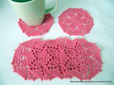 "CROCHET COASTERS SET 6, Drink Coasters Pretty Pink Flower, Table Decor, Handmade Coasters, Ready To Ship Cyprus Crochet Lace ""Lyubava"". $26.99, via Etsy."