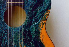 Inspiring image art, beautiful, guitar, music - Resolution - Find the image to your taste Guitar Painting, Guitar Art, Blue Guitar, Guitar Tattoo, Guitar Songs, Kalimba, Montage Photo, Beautiful Guitars, Guitar Design