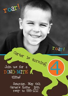 Dinosaur birthday invitation design by stylishcelebrations on Etsy, $12.00