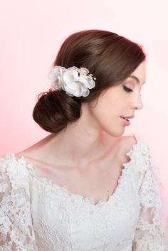 Silk Organza Bridal Flower Comb Wedding Hair Accessory Bridal Hair Silk Flower Comb by MilaKolitsova on Etsy