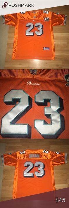 Vintage Reebok Miami Dolphins Ronnie Brown Jersey Great Condition. 40th Season Edition So It Very Rare And That Was The Season That They Went Without A Loss. Size 56 Reebok Other