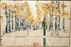 Czaar Peterstraat, Amsterdam. Maarten van der Linde. Mixed Media on Cardboard