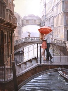 "The bridge beyond the couple is in Venice. It is called the bridge of sighs and in the 1970s movie ""A little romance"" actor Sir Lawrence Oliviae tells a young couple if they kiss under the bridge in a boat at sunset their live will endure forever! MaloneTD"