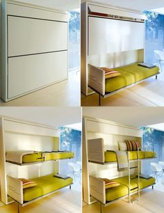 Clever space-saving-beds (think Murphy bunk beds) save space when not in use and open up the room for other uses Murphy Bunk Beds, Murphy Bed Plans, Kids Bunk Beds, Multipurpose Furniture, Multifunctional Furniture, Space Saving Beds, Space Saving Furniture, Double Deck Bed Space Saving, Small Apartments