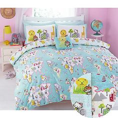 Hello #kitty world #traveller #duvet cover set with map & animal design in blue,  View more on the LINK: 	http://www.zeppy.io/product/gb/2/201372341557/