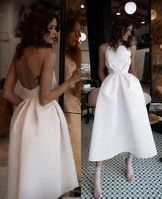 Sexy White Open Back Abendkleid, Tee Länge Satin Partykleid - Elegant Dresses, Pretty Dresses, Sexy Dresses, Beautiful Dresses, Fashion Dresses, Formal Dresses, Wedding Dresses, White Evening Dresses, Elegant White Dress