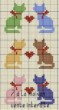 cat pattern for cross stitch, crochet or k nit -- Katter Cat Cross Stitches, Cross Stitching, Cross Stitch Embroidery, Embroidery Patterns, Mini Cross Stitch, Cross Stitch Cards, Cross Stitch Animals, Cross Stitch Designs, Cross Stitch Patterns