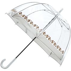 Fulton Birdcage Squirrel Print Umbrella, Clear/Brown ($25) ❤ liked on Polyvore featuring accessories, umbrellas, lightweight umbrella, fulton, vintage umbrellas, clear umbrella and fulton umbrella